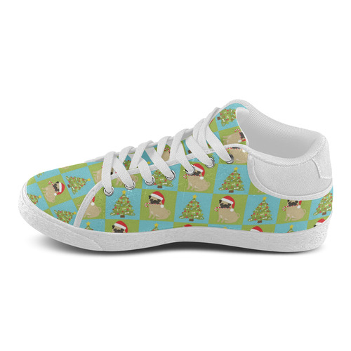 Christmas Pug And Tree Quilt Pattern Women S Chukka Canvas