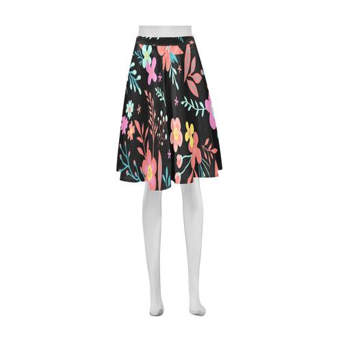 Cute Vintage Floral Pink Orange Aqua Athena Women's Short Skirt (Model D15)