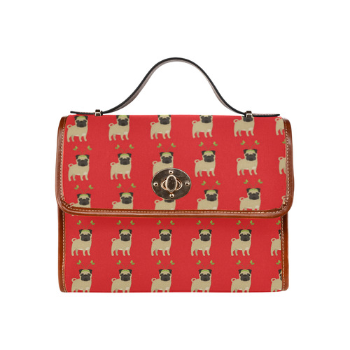 Christmas Pug on Red Background Waterproof Canvas Bag/All Over Print (Model 1641)