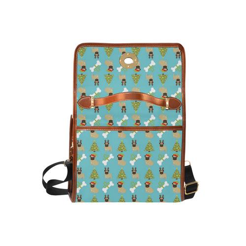Reindeer Pug, Tree and Dog Bone Christmas Waterproof Canvas Bag/All Over Print (Model 1641)