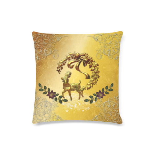 "Reindeer in golden colors Custom Zippered Pillow Case 16""x16""(Twin Sides)"
