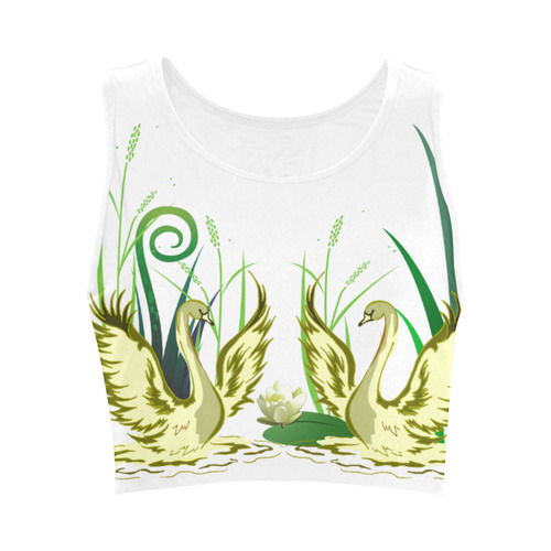 Lovely Swans  & Flower Lily in a Pond Women's Crop Top (Model T42)