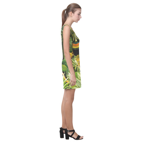 The Dream Henri Rousseau Jungle Animals Flowers Medea Vest Dress (Model D06)