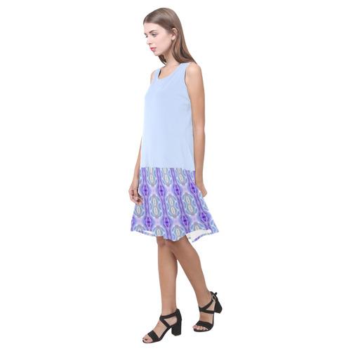 Light Blue Purple White Girly Pattern Sleeveless Splicing Shift Dress(Model D17)