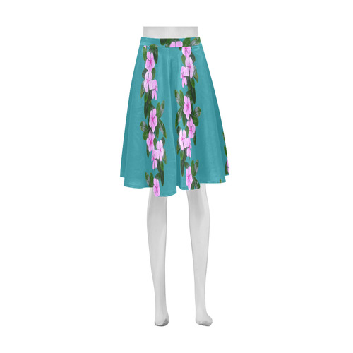 Pink Flowers blue_ Athena Women's Short Skirt (Model D15)