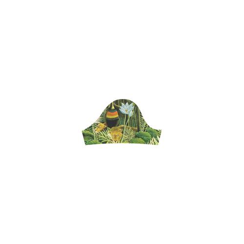 The Dream Henri Rousseau Jungle Animals Flowers Short Sleeves Casual Dress(Model D14)