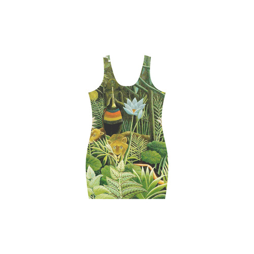 The Dream Henri Rousseau Jungle Animals Flowers Medea Vest Dress (Model D06)