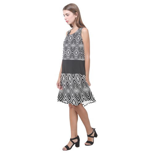 black and white diamond pattern Sleeveless Splicing Shift Dress(Model D17)