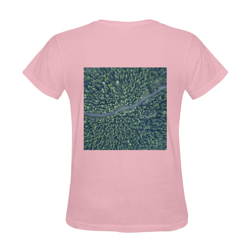 New arrival in shop. Designers t-shirt in pink with area forest. New vintage edition 2016 Sunny Women's T-shirt (Model T05)