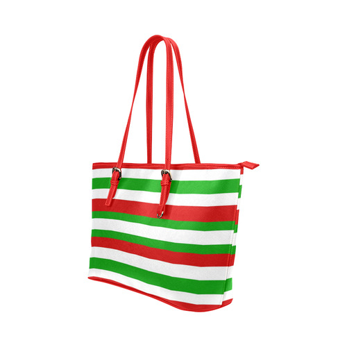Red, green and white multi striped tote bag Leather Tote Bag/Large (Model 1651)