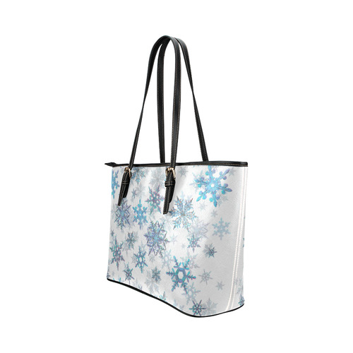 Snowflakes, Blue snow, stitched Leather Tote Bag/Small (Model 1651)