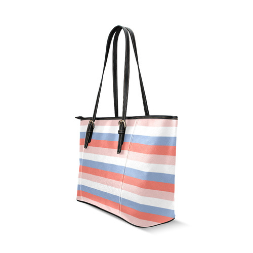New arrival in shop. Striped designers bag edition. art by guothova! Leather Tote Bag/Small (Model 1640)