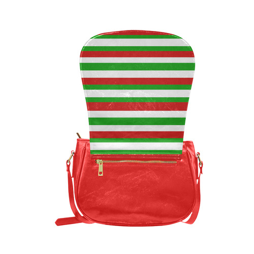 Red, green and white multi stripes bag Classic Saddle Bag/Small (Model 1648)
