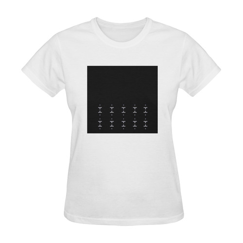 Original designers t-shirt with hand-drawn Art. Black and white. Nordic inspired pattern. Sunny Women's T-shirt (Model T05)