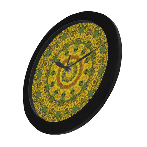 Sunflowers, Flower-Mandala 001 01.1 Circular Plastic Wall clock