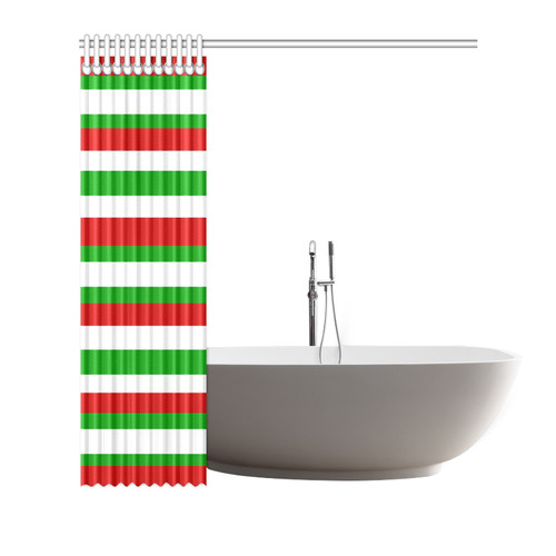"Red, green and white multi stripes shower curtain Shower Curtain 72""x72"""