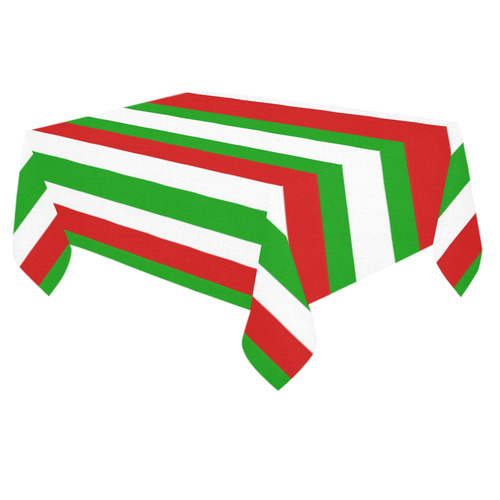 "Red, green and white multi stripes by Celeste@khoncepts.com Cotton Linen Tablecloth 60""x 84"""
