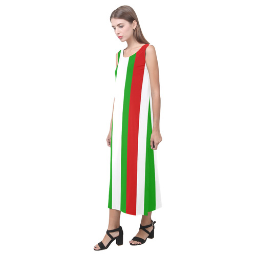 Red, green and white multi stripes - celeste@khoncepts.com Phaedra Sleeveless Open Fork Long Dress (Model D08)