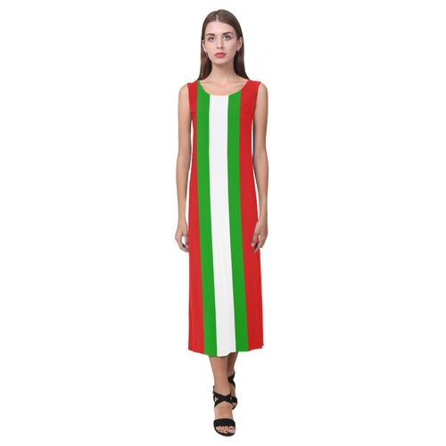 Red, green and white multi stripes - celeste@khoncepts.com Phaedra Sleeveless Open Fork Long Dress (Model D08)