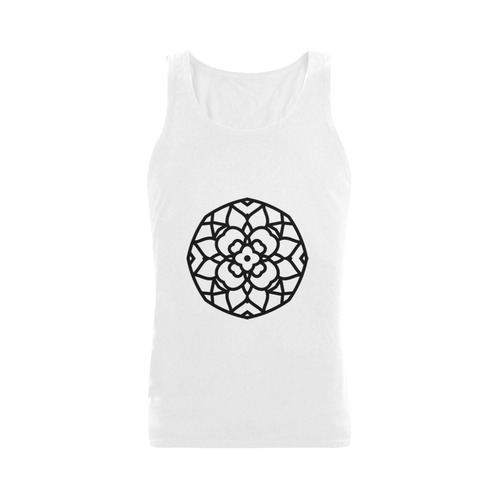 New in shop. Designers vintage t-shirt with mandala-art edition. Black and white 2016 Collection. We Plus-size Men's Shoulder-Free Tank Top (Model T33)