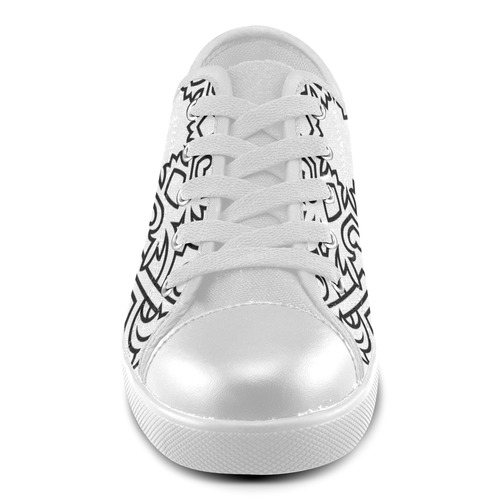 Luxury artistic original Shoe design. New arrival in our shop. Black and white hand-drawn Mandala ar Canvas Kid's Shoes (Model 016)
