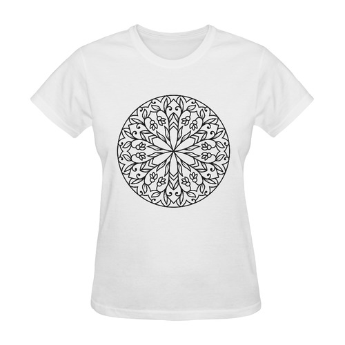 Exclusive designers t-shirts edition with Mandala art. Black and white 2016 Sunny Women's T-shirt (Model T05)