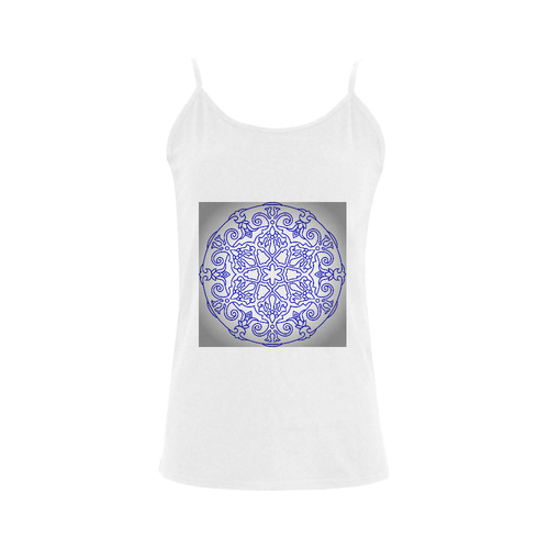 Designers luxury fashion with hand-drawn Mandala art. Blue and white edition 2016 Women's Spaghetti Top (USA Size) (Model T34)