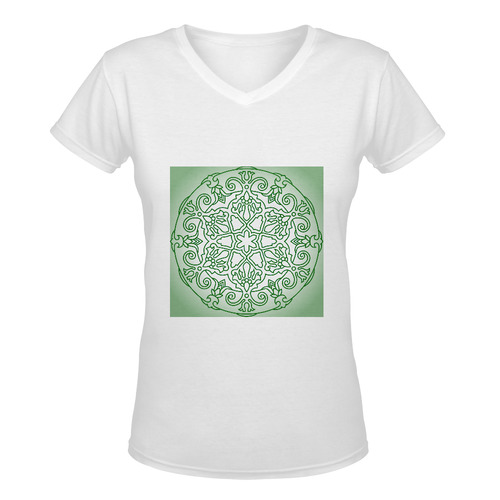 Designers vintage t-shirt edition with mandala art. Green and white designers edition 2016 Women's Deep V-neck T-shirt (Model T19)