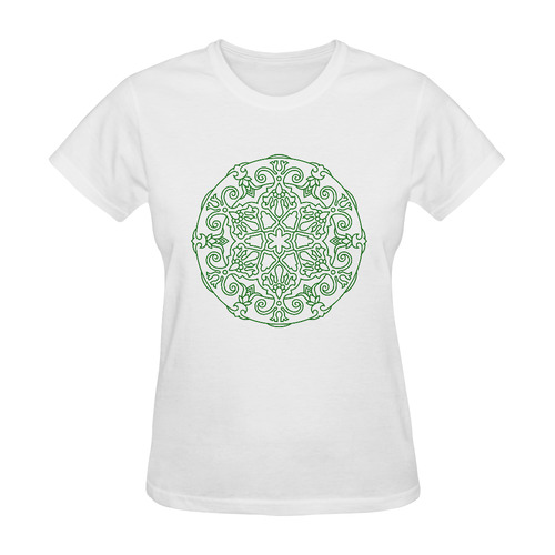 Mandala t-shirts edition. Orient hand-drawn edition 2016 available. Green and white. Sunny Women's T-shirt (Model T05)