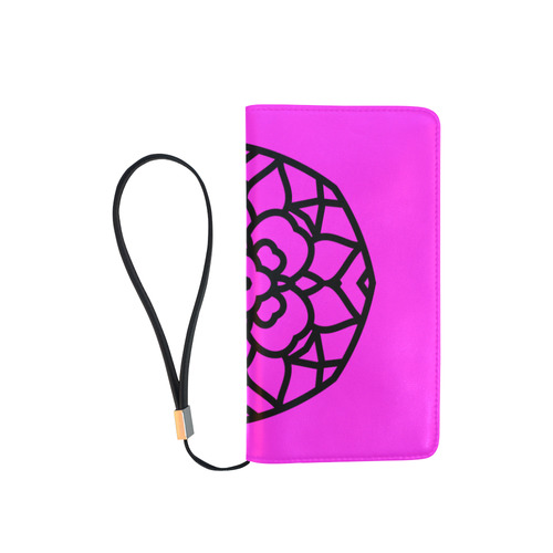 New arrival in Shop : Original hand-drawn Mandala art / black and pink designers edition 2016 Men's Clutch Purse (Model 1638)