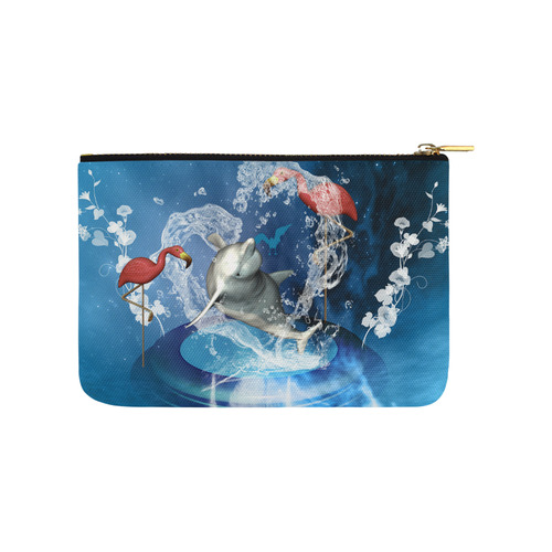 Dolphin with flamingos Carry-All Pouch 9.5''x6''
