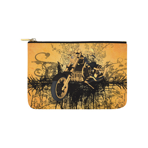 Steampunk, awesome motorcycle with floral elements Carry-All Pouch 9.5''x6''
