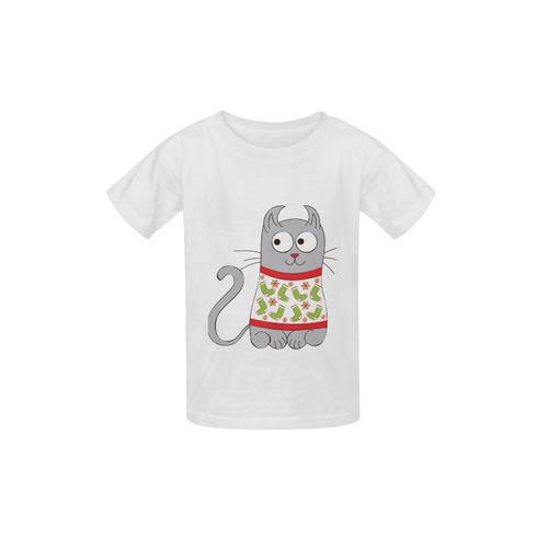 e3c6ad5fbfe069 Ugly Christmas Sweater Cartoon Cat Kid's Classic T-shirt (Model T22) | ID:  D992026
