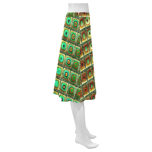 Red Green Brago Mitchell Fractal Mosaic Mnemosyne Women's Crepe Skirt (Model D16)