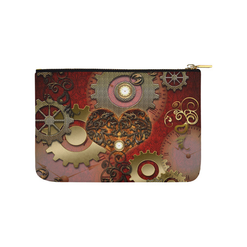 Steampunk, awesome glowing hearts Carry-All Pouch 9.5''x6''