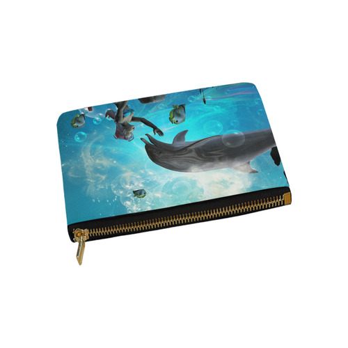 Dolphin with bautiful mermaid Carry-All Pouch 9.5''x6''