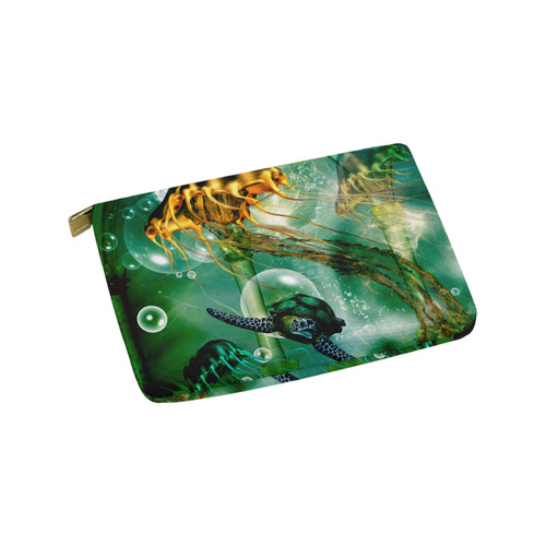 Turtle with jelly fsih Carry-All Pouch 9.5''x6''