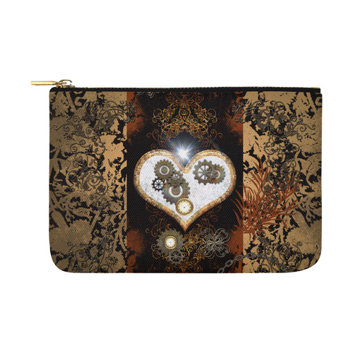 Steampunk, wonderful heart, clocks and gears Carry-All Pouch 12.5''x8.5''