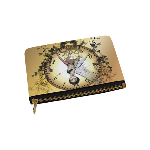 Steampunk, wonderful fairy, clocks and gears Carry-All Pouch 9.5''x6''