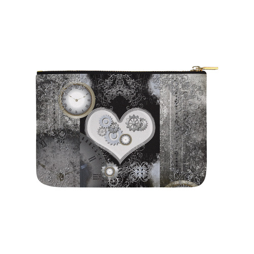 Steampunk, heart, clocks and gears Carry-All Pouch 9.5''x6''