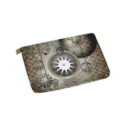 Steampunk, noble design, clocks and gears Carry-All Pouch 9.5''x6''