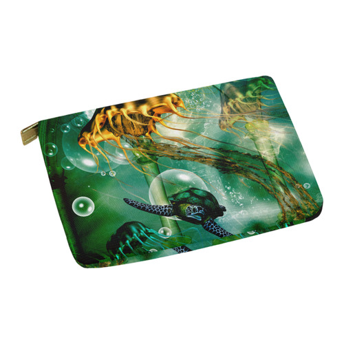 Turtle with jelly fsih Carry-All Pouch 12.5''x8.5''