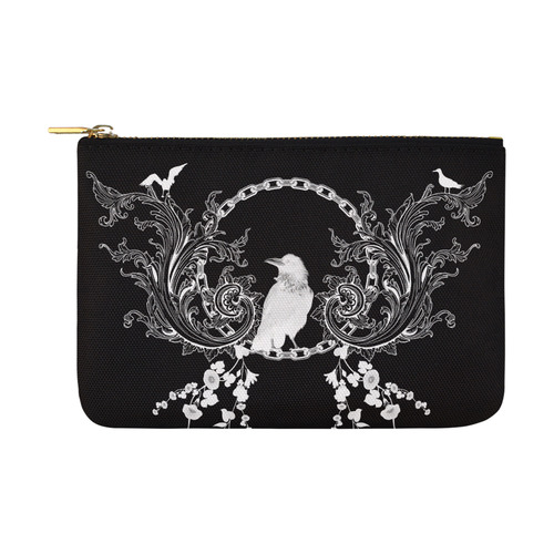 White crow with flowers Carry-All Pouch 12.5''x8.5''