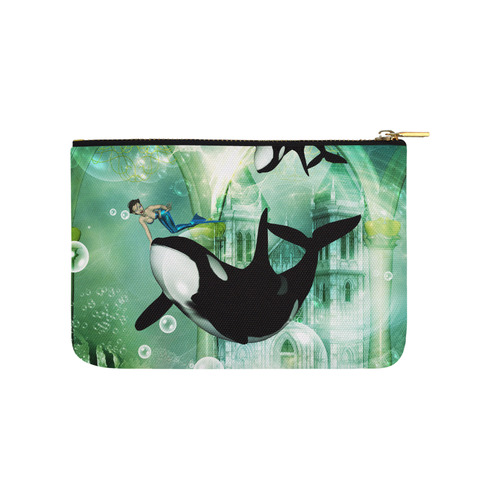 Orca with mermaid Carry-All Pouch 9.5''x6''