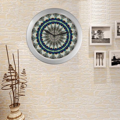 Fractal Kaleidoscope Mandala Flower Abstract 19 Silver Color Wall Clock
