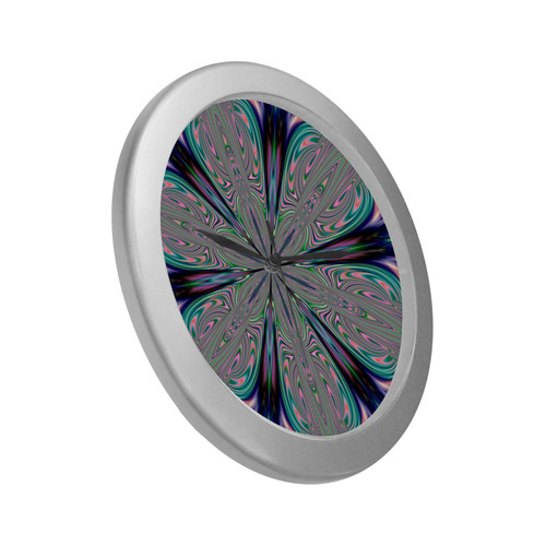 Fractal Kaleidoscope Mandala Flower Abstract 33 Silver Color Wall Clock