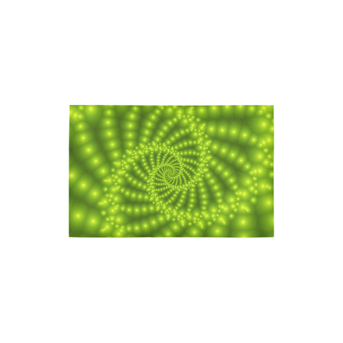 """Glossy Lime Green Beaded Spiral Fractal Area Rug 2'7""""x 1'8''"""