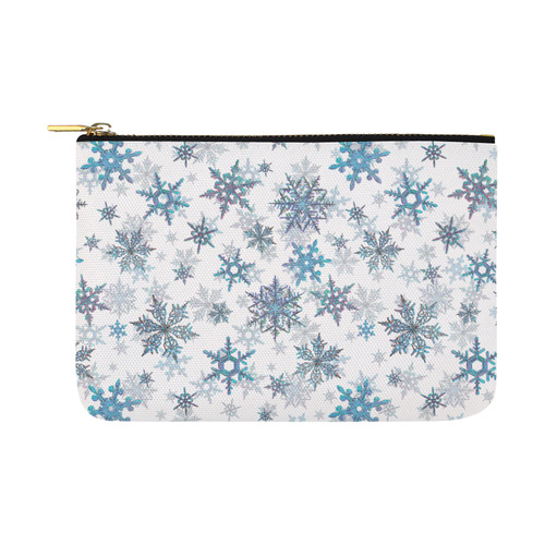 Snowflakes, Blue snow, stitched Carry-All Pouch 12.5''x8.5''