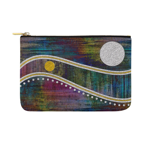 Landscape Waves Dots Grunge Gold Silver Carry-All Pouch 12.5''x8.5''