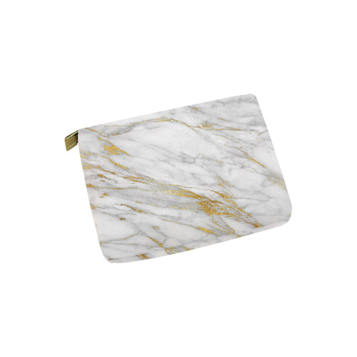 italian Marble, white and gold Carry-All Pouch 6''x5''